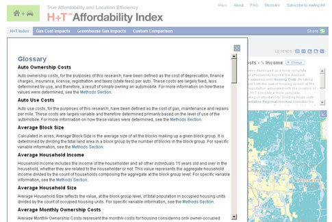The Housing + Transportation Affordability Index is an innovative tool that measures the true affordability of housing based on its location.